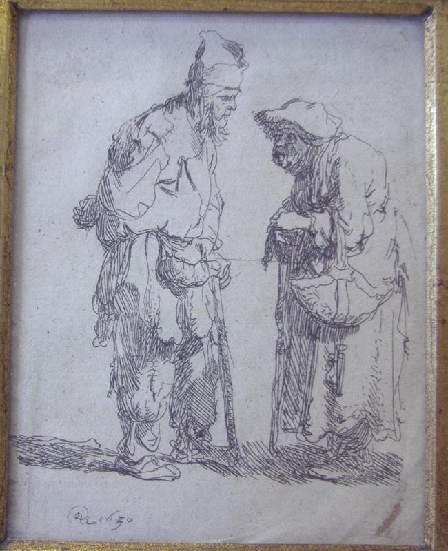 REMBRANDT Etching Beggar Man & Beggar Woman