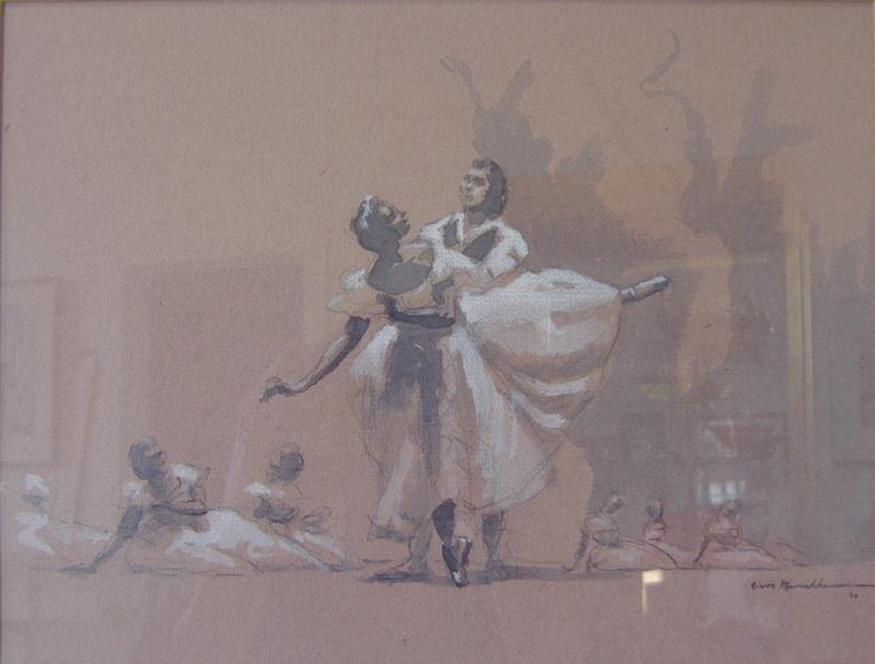 AARON AUGUST VON MUNCHHAUSEN Ballet Dancers Pastel
