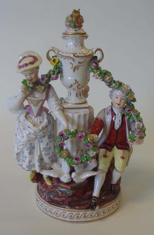 19thc German Porcelain Figural Group, signed