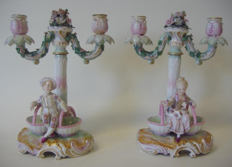 19thc German Porcelain Figural Candelabras, signed