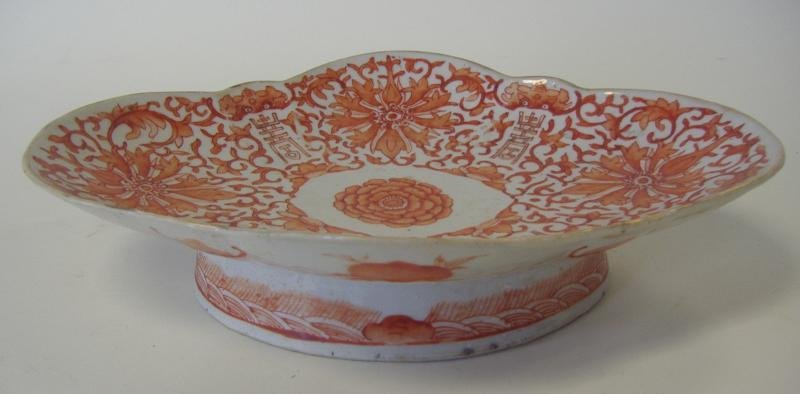 19thc Chinese Porcelain Iron Red Footed Compote