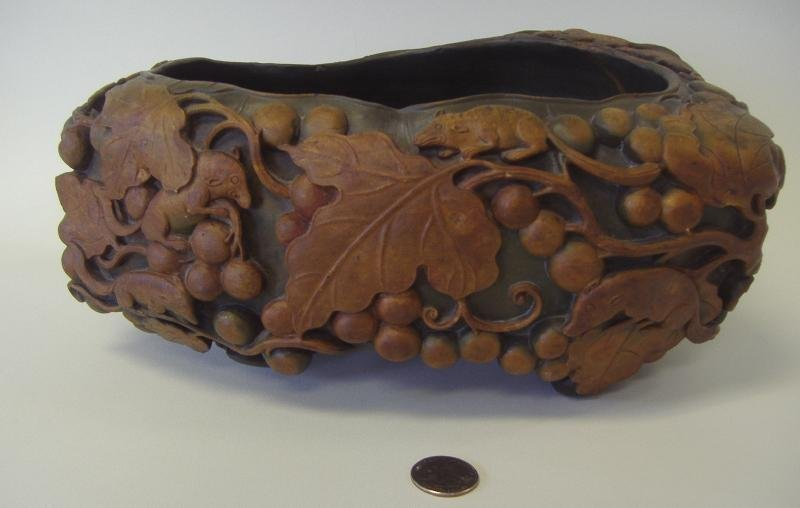 Large Chinese Carved Stone Bowl, Squirrels, Bat +