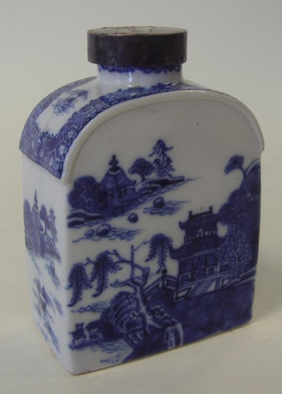 18thc Chinese Blue & White Porcelain Tea Caddy