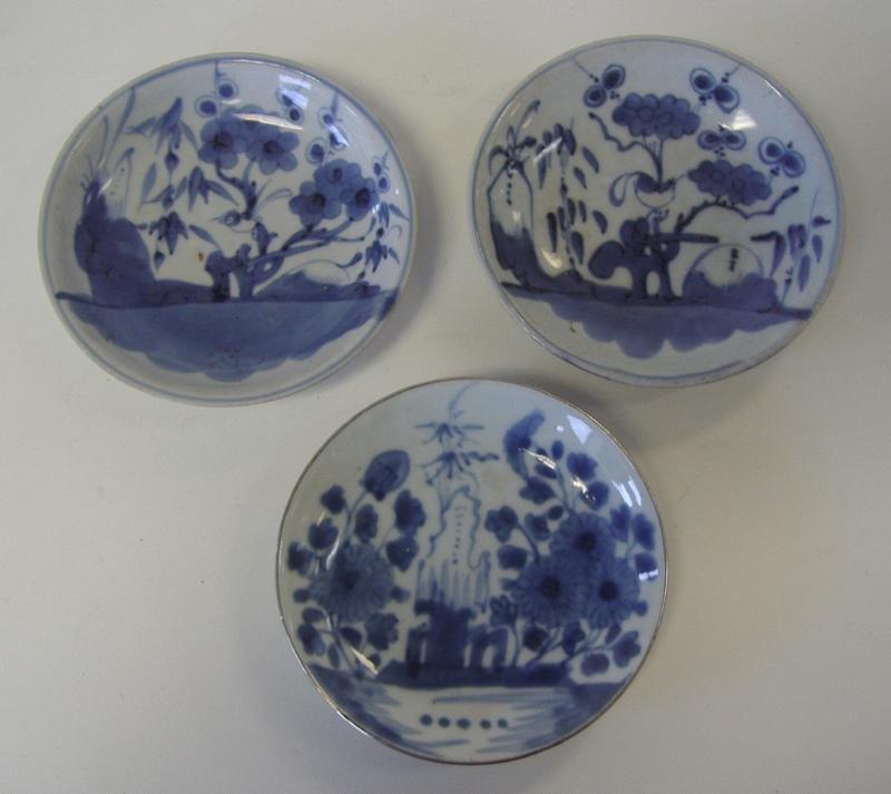 3 Chinese Blue & White Porcelain Dishes, Dehua