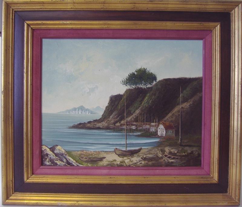 CURKA, Costal Village Landscape Oil - 2