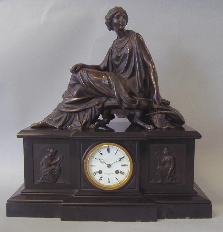 TIFFANY Bronze & Marble Clock, Brocot & Delettrez
