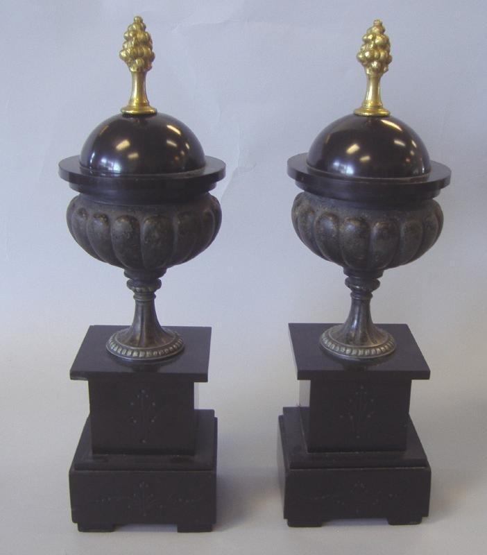 19thc Black Slate Urn Formed Garnitures