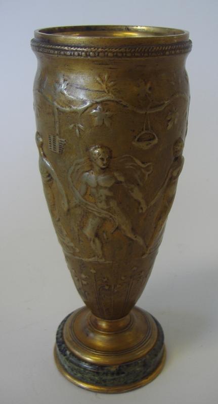 F. LEVILLAIN Bronze Nude Male & Female Vase
