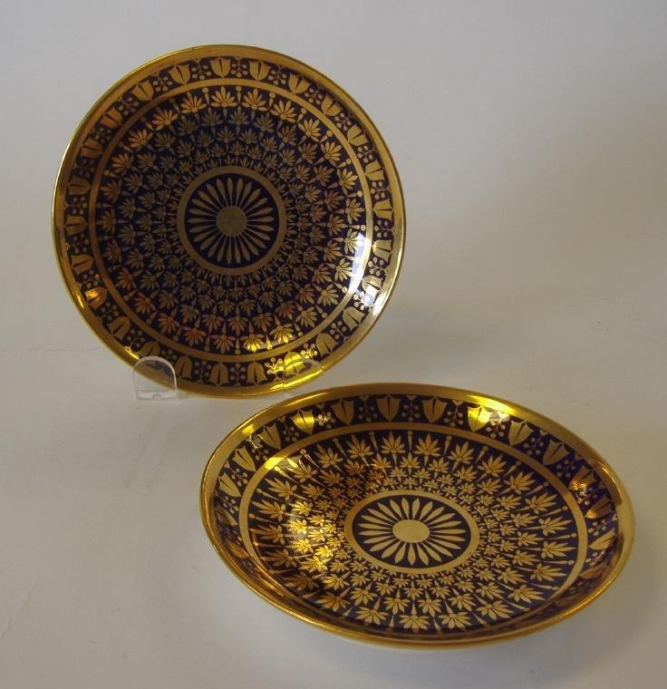 SEVRES Cobalt & Gilt Porcelain Cabinet Plates pair