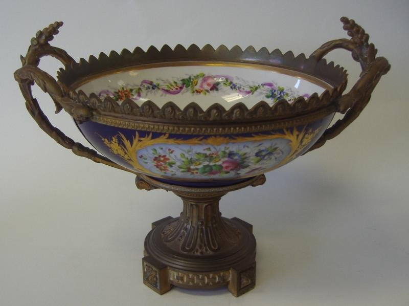 SEVRES Style Cobalt Porcelain Bronze Compote Bowl