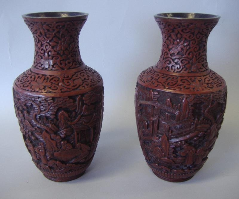 Chinese Carved Cinnabar Lacquer Vases, pair