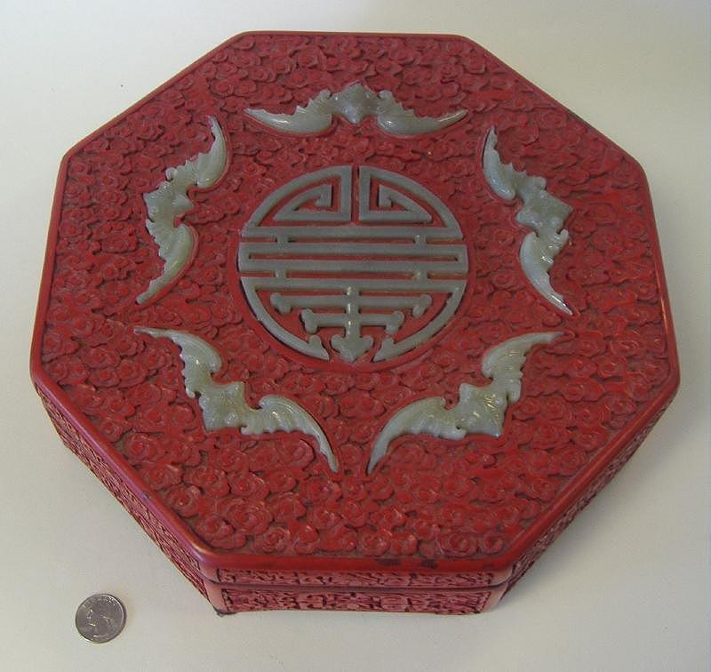 Chinese Cinnabar Lacquer & Jade Box, 5 Bats