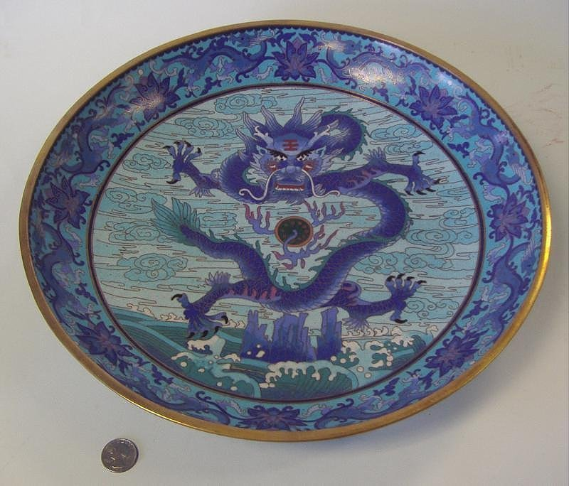 Chinese Cloisonne Enamel Charger 5-Claw Dragon