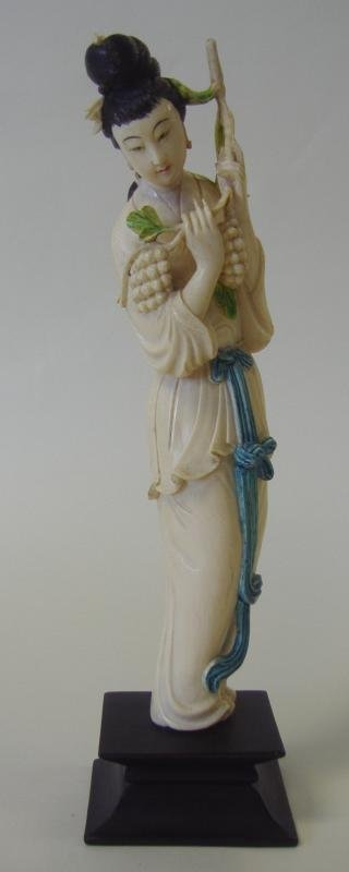 Chinese Carved Polychrome Ivory Female Figure