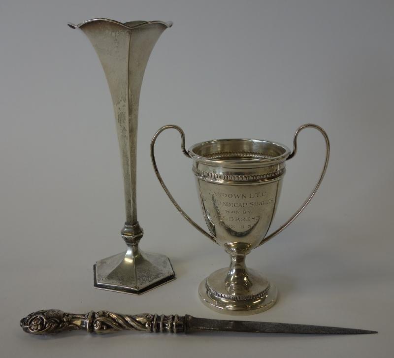English Sterling Trophy, Bud Vase & Letter Opener