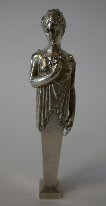 Solid Silver Figural Art Nouveau Seal Paperweight