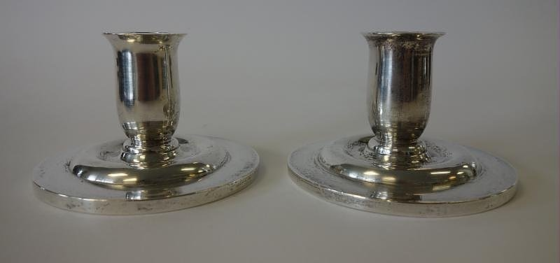 Chinese Sterling Silver Candle Holders, Signed