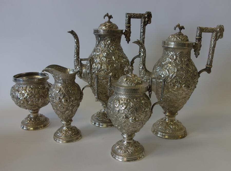 Harris & Shafer Sterling Repousse Coffee Service