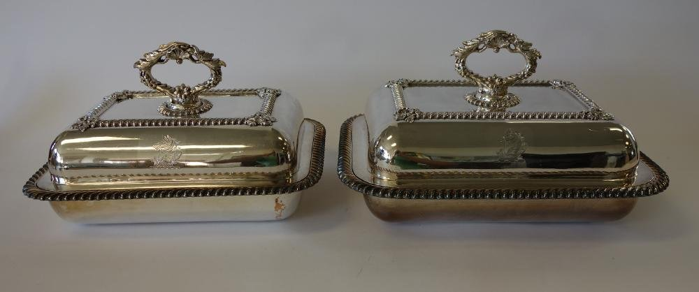 Old Sheffield Plate Silver Entre Dishes, Crested Horse