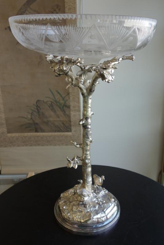 Elkington Figural Ostrich Silverplate Centerpiece