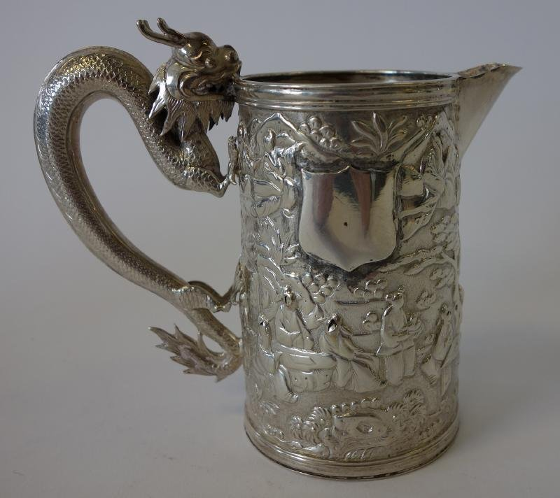 Chinese Export Silver Pitcher, Dragon Handle, Sgnd