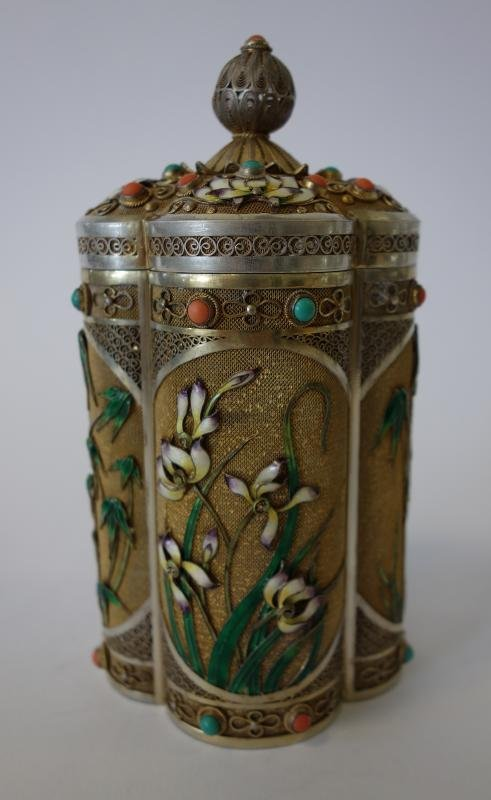Chinese Gilt Silver & Enamel Canister Box