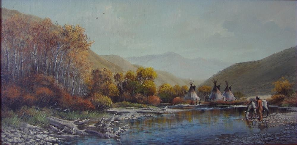Robert Thomas, Indian Reservation, Oil Painting