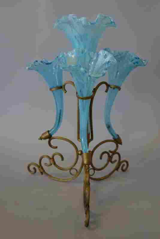 Victorian Blue Glass & Gilt Metal Epergne