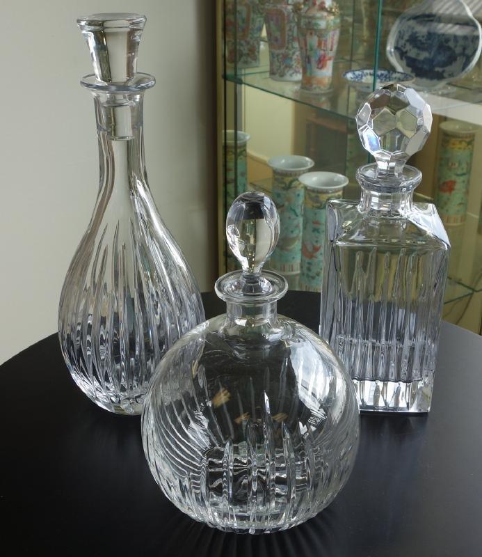 3 Cut Crystal Decanters, Rogaska & Samobor
