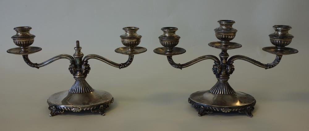 Continental 800 Silver Candelabra, pair