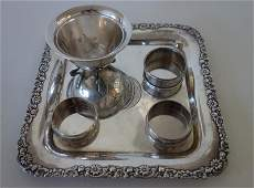 Sterling Silver Tray, Bowl & Napkin Rings