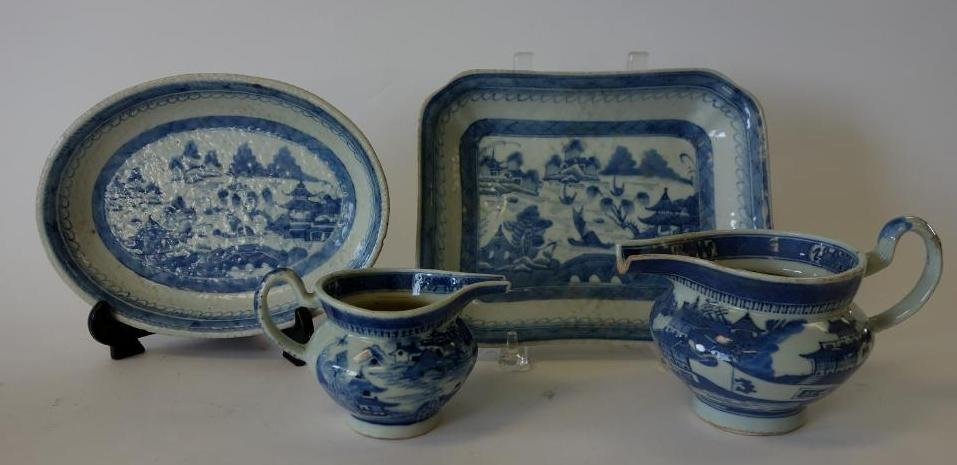 19thc Chinese Canton Porcelain Pitchers & Dishes