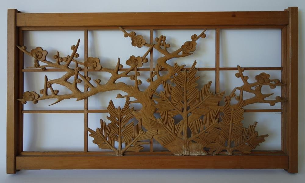 Japanese Carved Wood Panel Screen, Cherry Blossoms