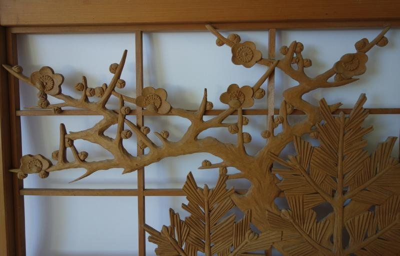 Japanese Carved Wood Panel Screen, Cherry Blossoms - 2