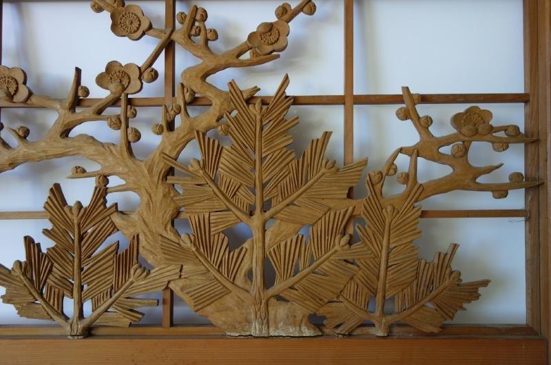 Japanese Carved Wood Panel Screen, Cherry Blossoms - 3