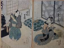 2 Kunisada Japanese Woodblock Prints, 19thc