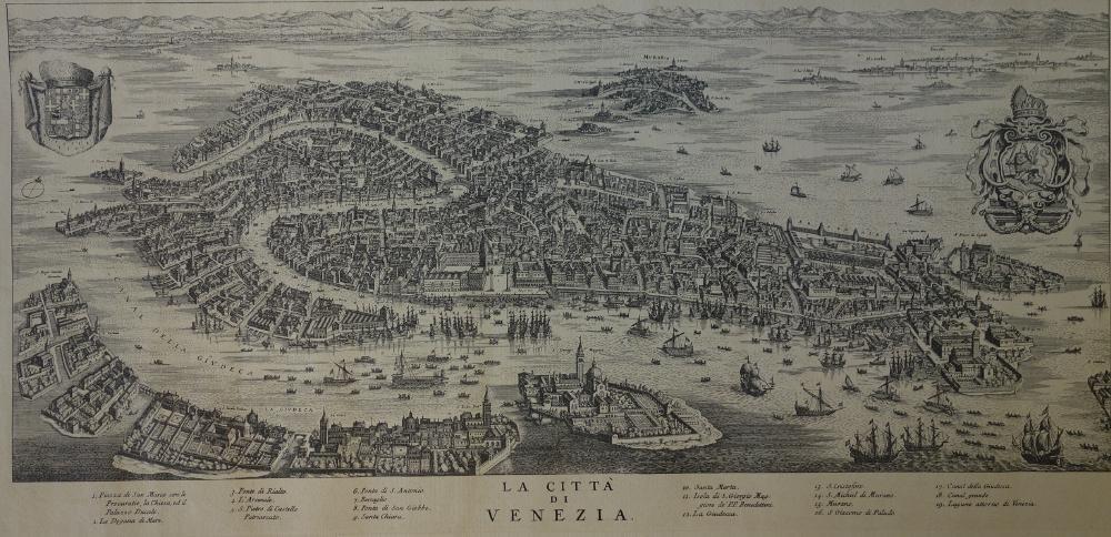 La Citta Di Venezia  Engraving Map of Venice