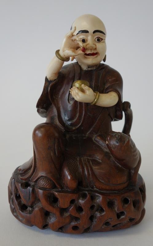 19thc Chinese Carved Wood & Ivory Buddha & Foo Dog