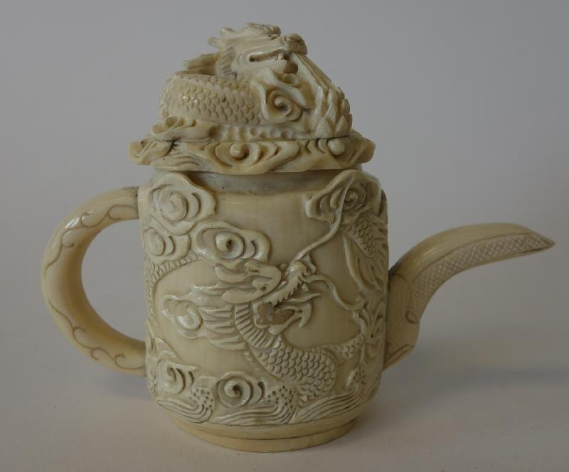 Chinese Carved Ivory Teapot, Dragon Lid