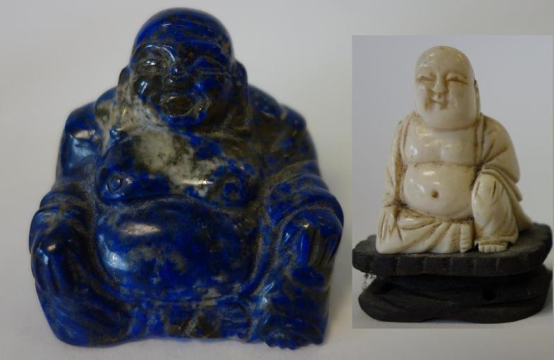 Ivory & Lapis Lazuli Buddha Figures