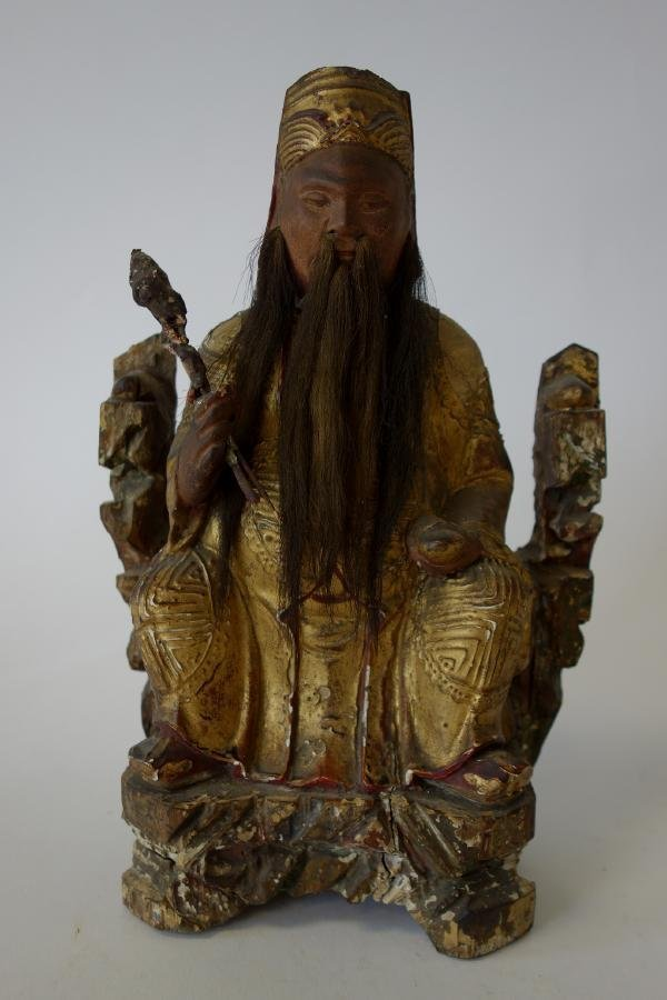 19thc Chinese Polychrome Wood Immortal Carving