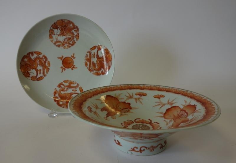 Chinese Porcelain Bowl & Plate, Bats & Dragons