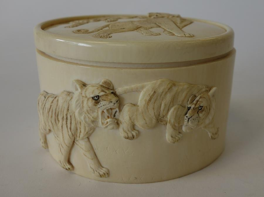 Carved African Ivory Box, Lions & Tigers