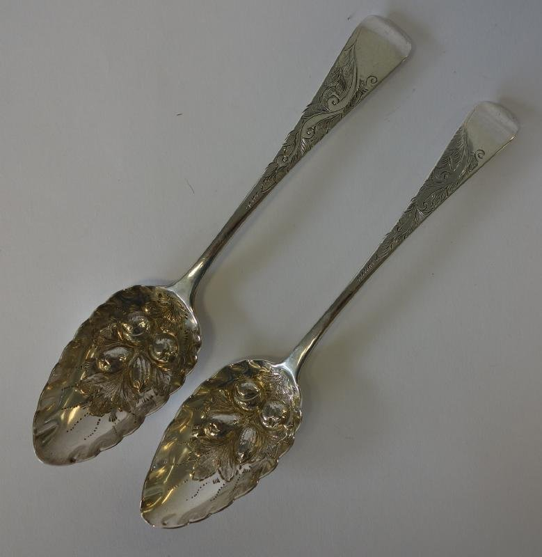 2 Exeter Sterling Silver Berry Spoons, 1819 & 1821