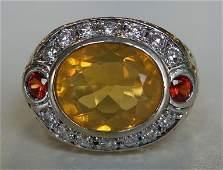 45ct Brazilian Fire Opal  Diamond 14K Gold Ring
