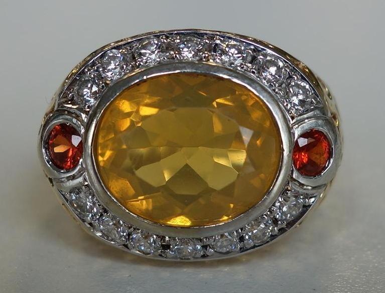 4.5ct Brazilian Fire Opal & Diamond 14K Gold Ring
