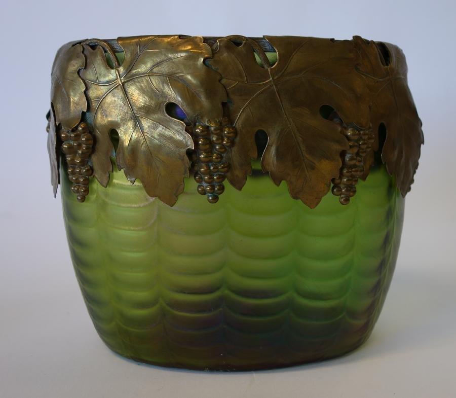 Loetz Art Glass Vase, Copper Grape Leaf Rim
