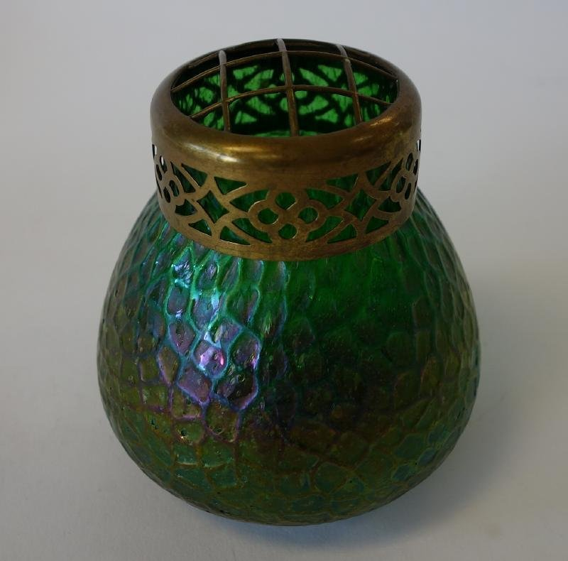 Bohemian Art Glass Vase with Copper Lid