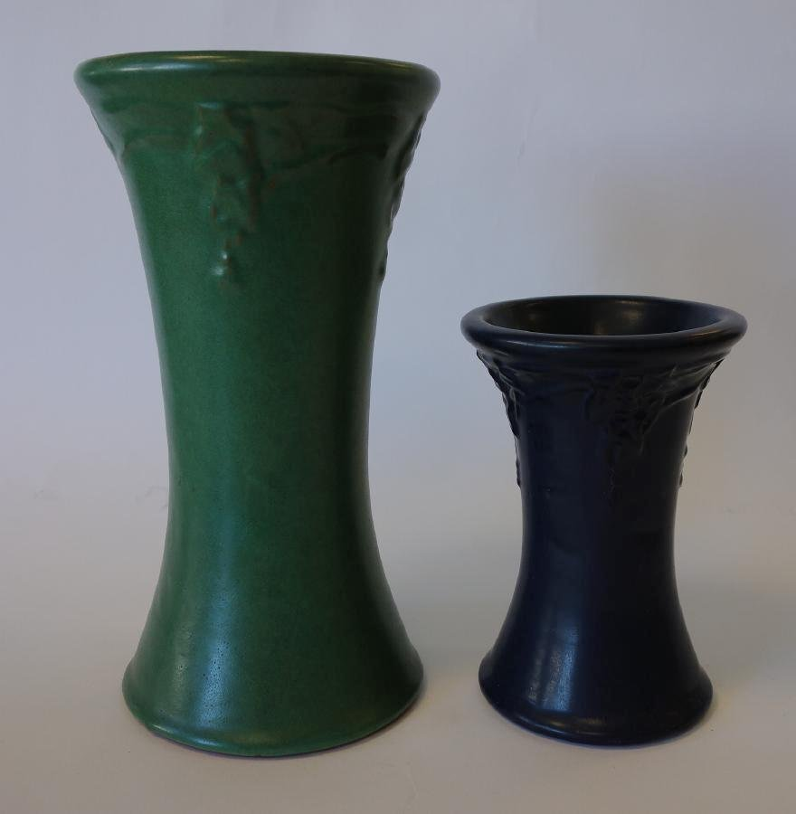 Peters & Reed Art Pottery Vases, Matt Green & Blue