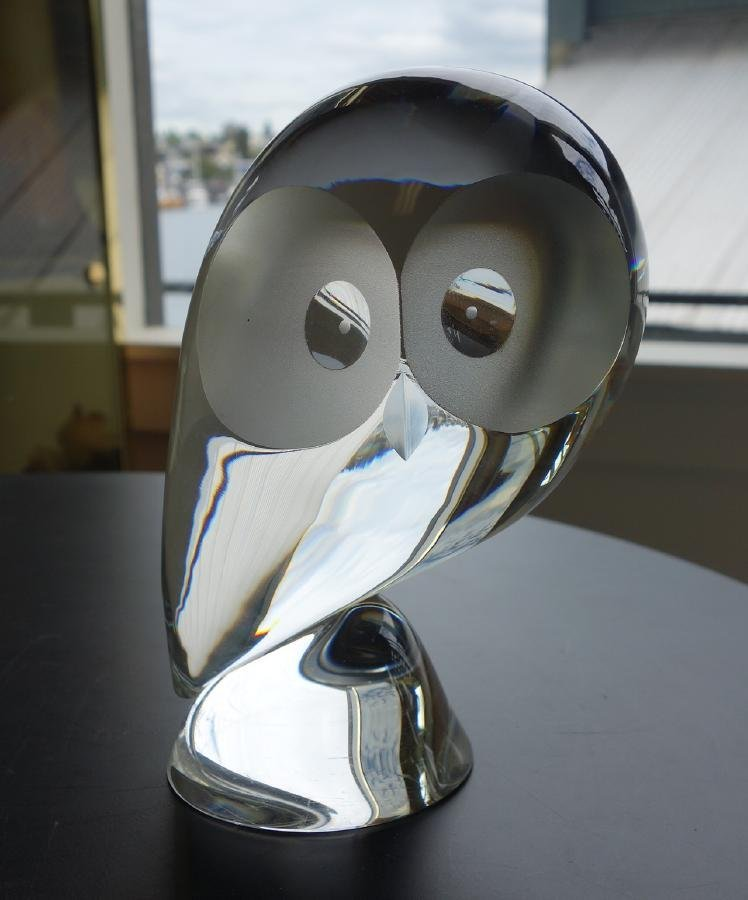 Steuben Clear Glass Crystal Owl, signed